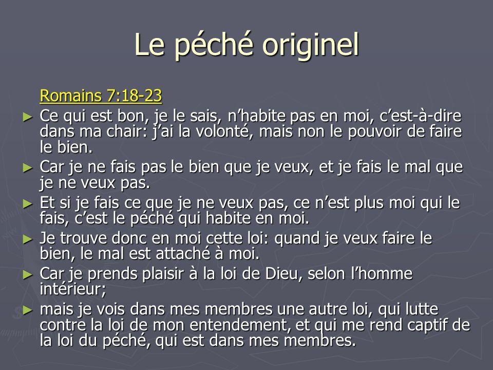 Le péché originel Romains 7:18-23 Ce qui est bon, je le sais, nhabite pas en moi, cest-à-dire dans ma chair: jai la volonté, mais non le pouvoir de fa