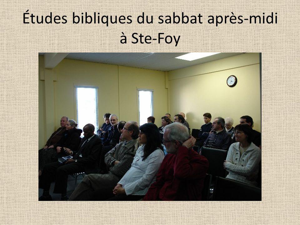 Études bibliques du sabbat après-midi à Ste-Foy