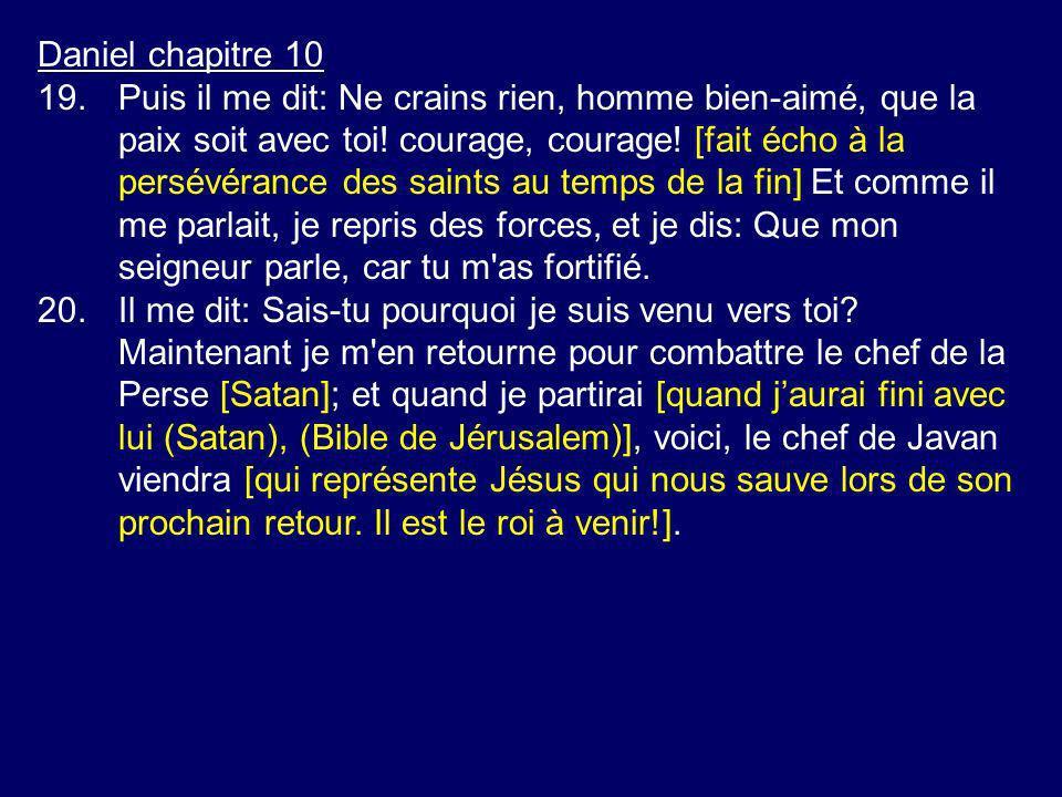 Daniel chapitre 10 19.Puis il me dit: Ne crains rien, homme bien-aimé, que la paix soit avec toi! courage, courage! [fait écho à la persévérance des s