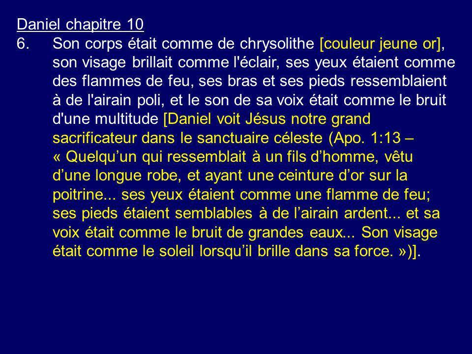 Daniel chapitre 10 6.Son corps était comme de chrysolithe [couleur jeune or], son visage brillait comme l'éclair, ses yeux étaient comme des flammes d