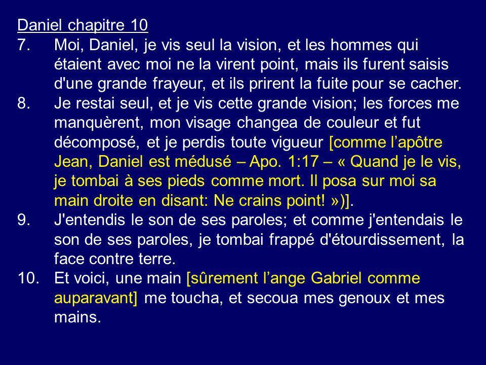 Daniel chapitre 10 7.Moi, Daniel, je vis seul la vision, et les hommes qui étaient avec moi ne la virent point, mais ils furent saisis d'une grande fr
