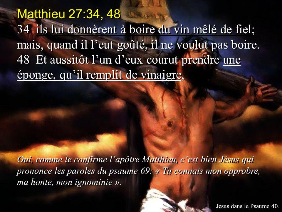 Matthieu 27:34, 48 34 ils lui donnèrent à boire du vin mêlé de fiel; mais, quand il leut goûté, il ne voulut pas boire. 48 Et aussitôt lun deux courut