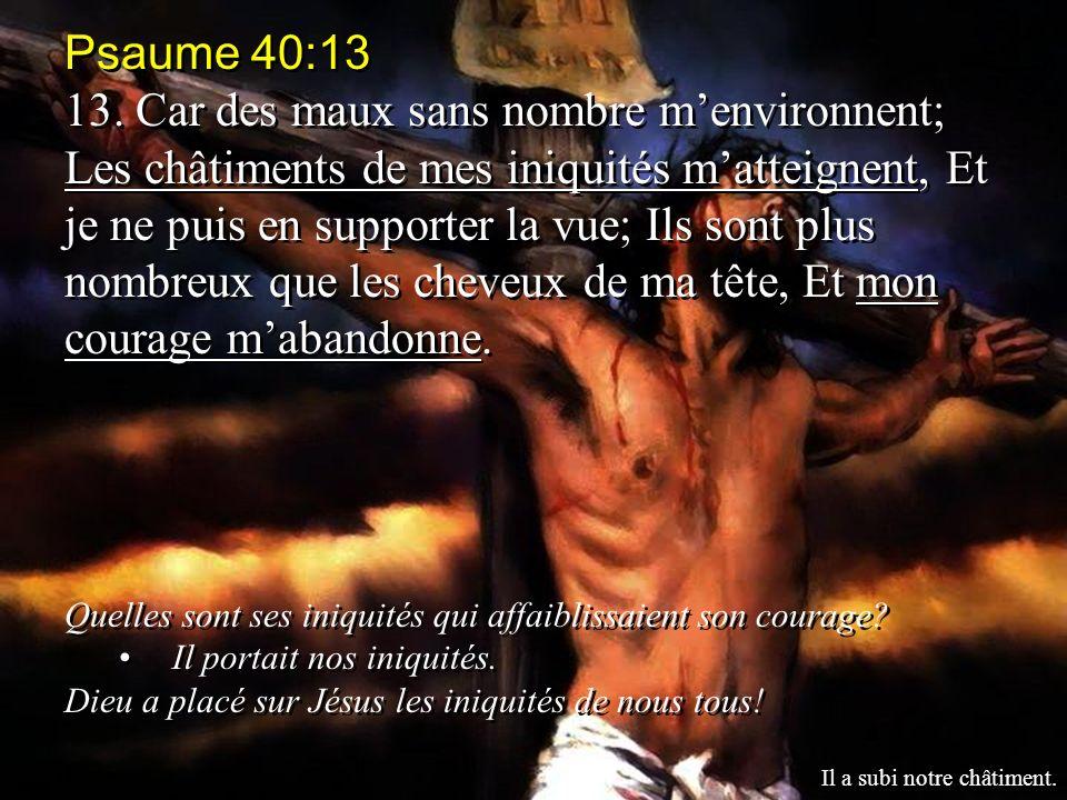 Psaume 40:13 13. Car des maux sans nombre menvironnent; Les châtiments de mes iniquités matteignent, Et je ne puis en supporter la vue; Ils sont plus
