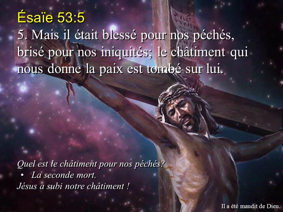 Ésaïe 53:5 5. Mais il était blessé pour nos péchés, brisé pour nos iniquités; le châtiment qui nous donne la paix est tombé sur lui. Quel est le châti