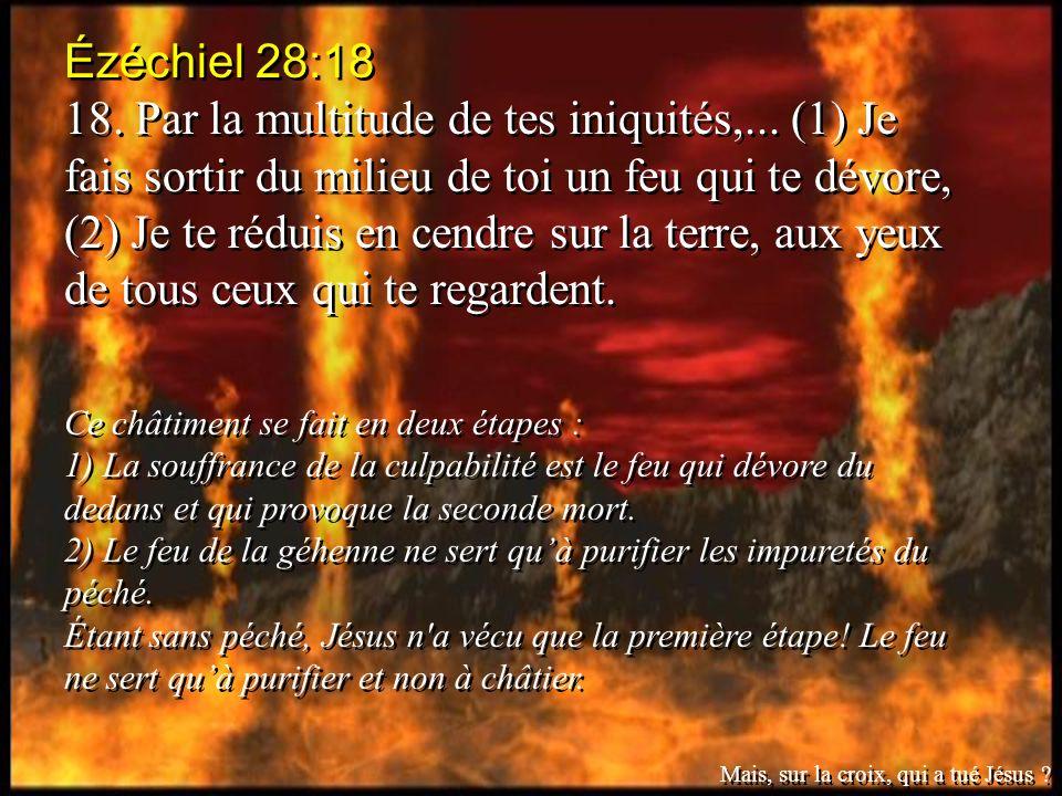 Ézéchiel 28:18 18. Par la multitude de tes iniquités,... (1) Je fais sortir du milieu de toi un feu qui te dévore, (2) Je te réduis en cendre sur la t