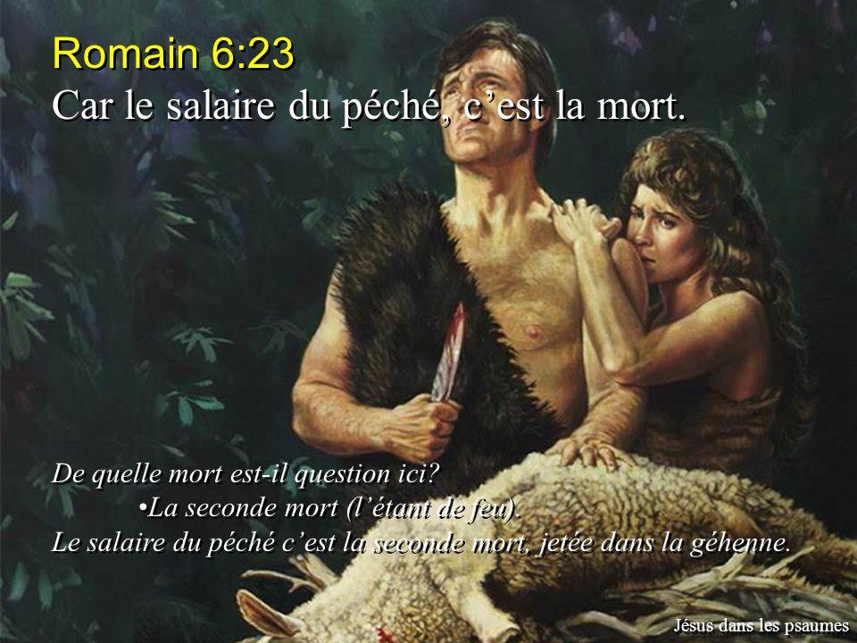 Romain 6:23 Car le salaire du péché, cest la mort. De quelle mort est-il question ici? La seconde mort (létant de feu). Le salaire du péché cest la se
