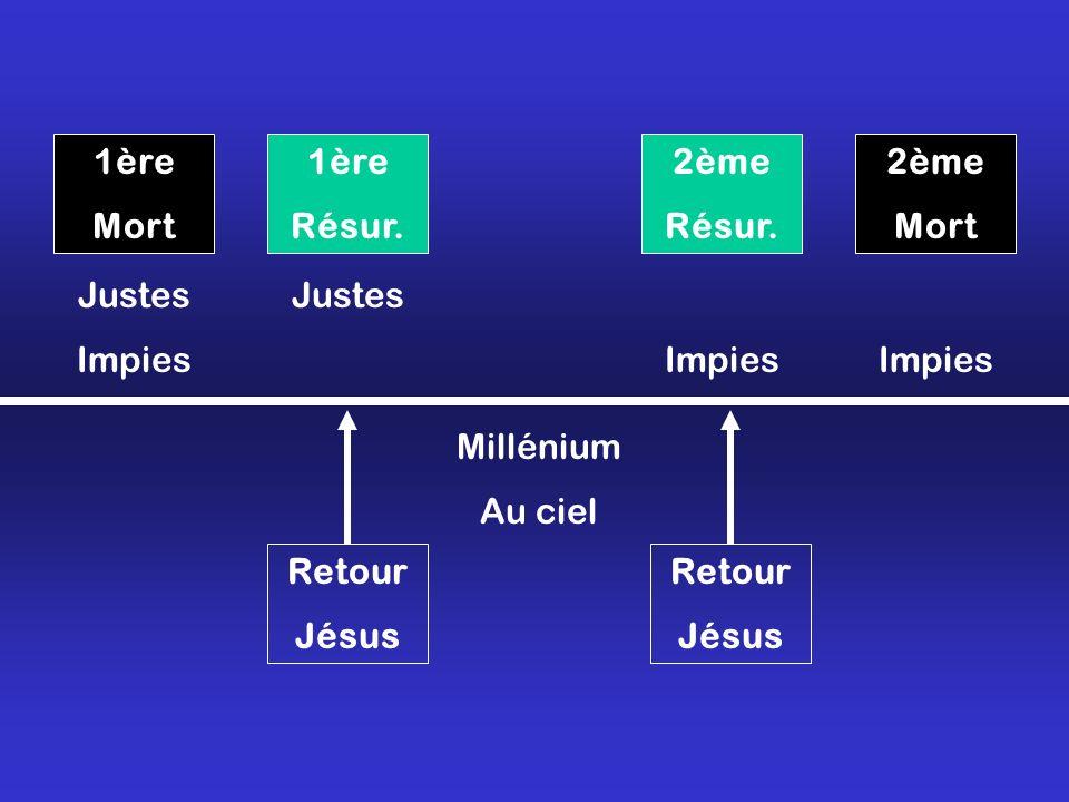 1ère Mort 2ème Mort 1ère Résur. 2ème Résur. Justes Impies Justes Impies Millénium Au ciel Retour Jésus Retour Jésus