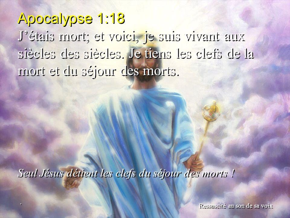 Apocalypse 1:18 Jétais mort; et voici, je suis vivant aux siècles des siècles. Je tiens les clefs de la mort et du séjour des morts. Seul Jésus détien
