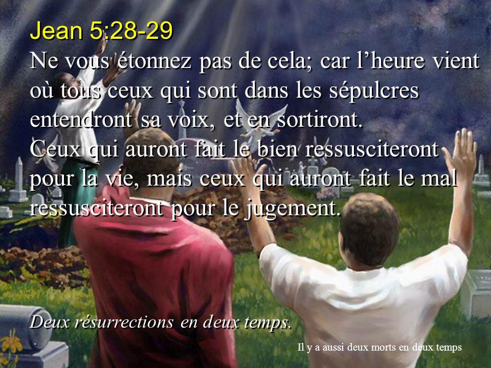 Jean 5:28-29 Ne vous étonnez pas de cela; car lheure vient où tous ceux qui sont dans les sépulcres entendront sa voix, et en sortiront. Ceux qui auro