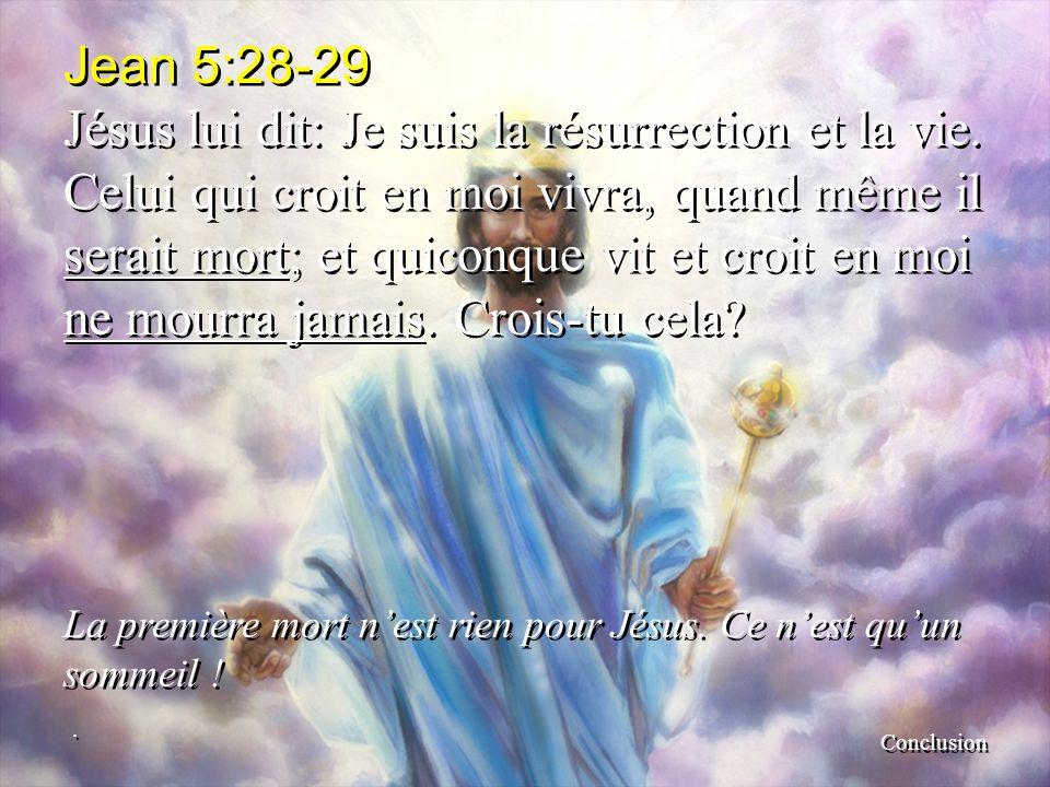 Jean 5:28-29 Jésus lui dit: Je suis la résurrection et la vie. Celui qui croit en moi vivra, quand même il serait mort; et quiconque vit et croit en m