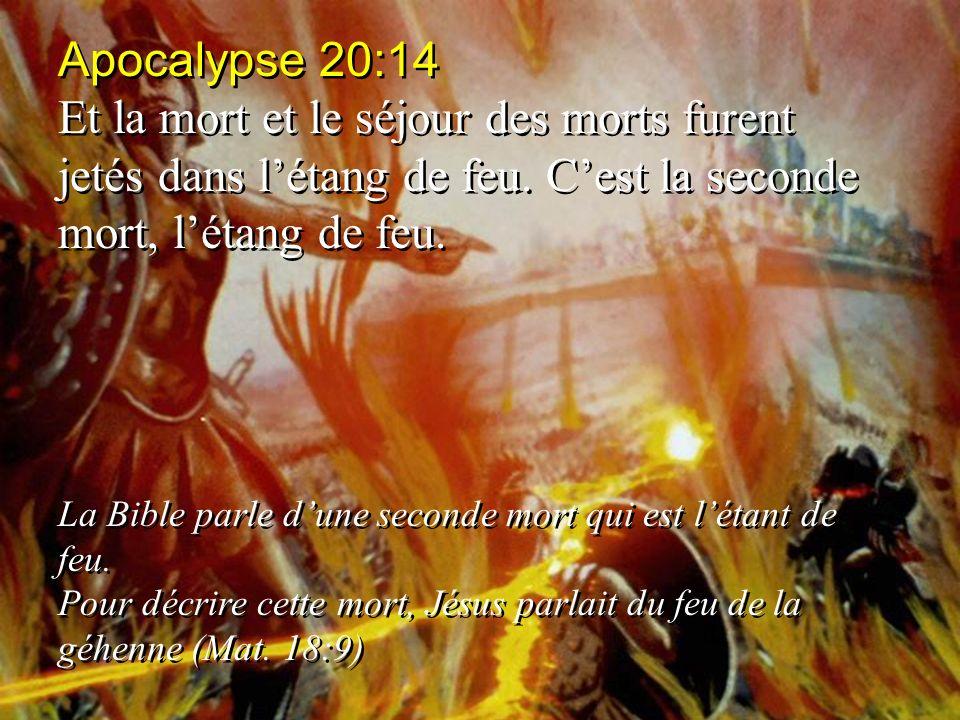 Apocalypse 20:14 Et la mort et le séjour des morts furent jetés dans létang de feu. Cest la seconde mort, létang de feu. La Bible parle dune seconde m
