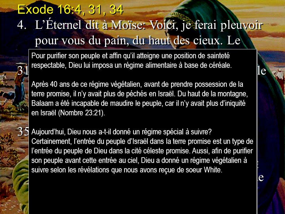 Exode 16:4, 31, 34 4.LÉternel dit à Moïse: Voici, je ferai pleuvoir pour vous du pain, du haut des cieux. Le peuple sortira, et en ramassera, 31.La ma