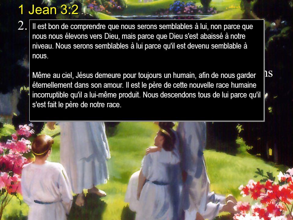 1 Jean 3:2 2.Bien-aimés, nous sommes maintenant enfants de Dieu, et ce que nous serons na pas encore été manifesté; mais nous savons que, lorsque cela sera manifesté, nous serons semblables à lui, parce que nous le verrons tel quil est.
