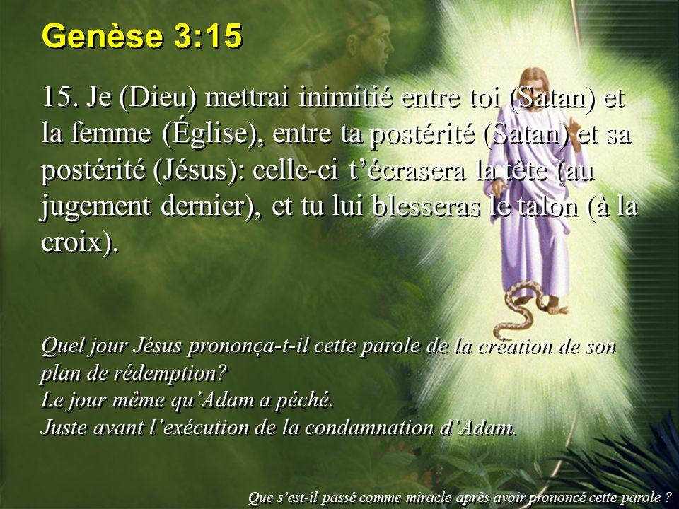 Genèse 3:15 15. Je (Dieu) mettrai inimitié entre toi (Satan) et la femme (Église), entre ta postérité (Satan) et sa postérité (Jésus): celle-ci técras
