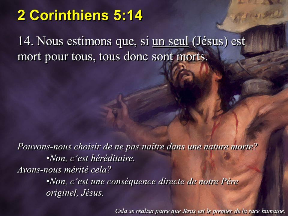 2 Corinthiens 5:14 14. Nous estimons que, si un seul (Jésus) est mort pour tous, tous donc sont morts. Pouvons-nous choisir de ne pas naître dans une