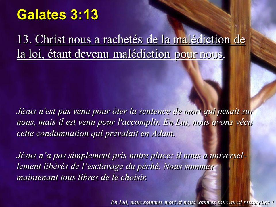 Galates 3:13 13. Christ nous a rachetés de la malédiction de la loi, étant devenu malédiction pour nous. Jésus n'est pas venu pour ôter la sentence de