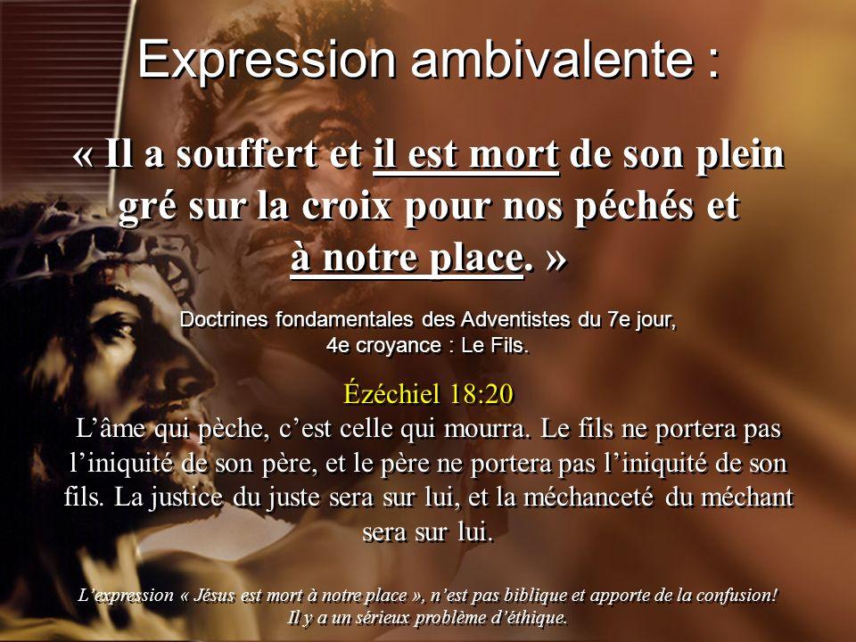 « Il a souffert et il est mort de son plein gré sur la croix pour nos péchés et à notre place. » Doctrines fondamentales des Adventistes du 7e jour, 4