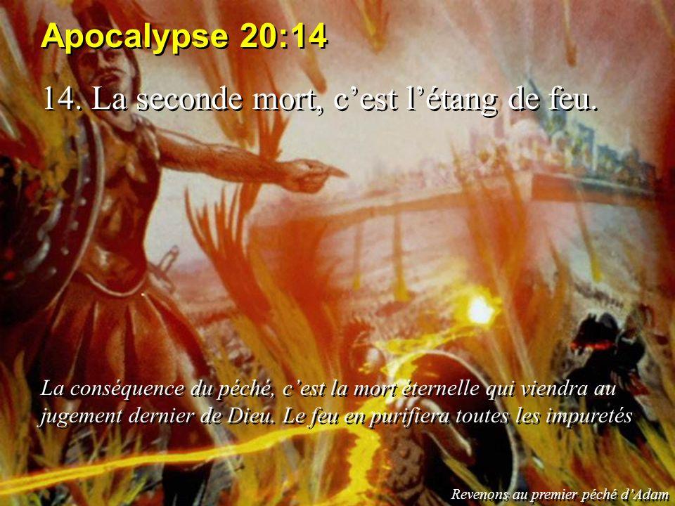 Apocalypse 20:14 14. La seconde mort, cest létang de feu. La conséquence du péché, cest la mort éternelle qui viendra au jugement dernier de Dieu. Le