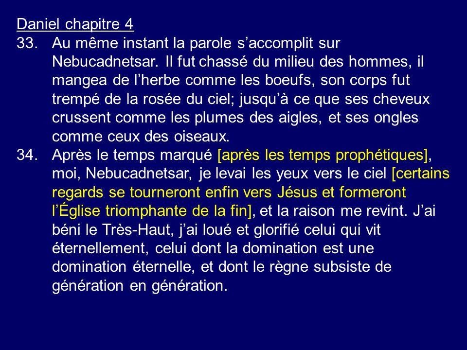 Daniel chapitre 4 33.Au même instant la parole saccomplit sur Nebucadnetsar. Il fut chassé du milieu des hommes, il mangea de lherbe comme les boeufs,