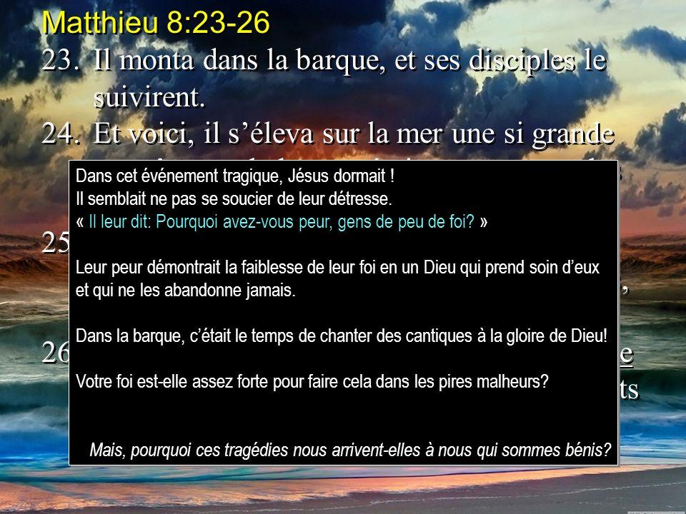 Matthieu 8:23-26 23.Il monta dans la barque, et ses disciples le suivirent. 24.Et voici, il séleva sur la mer une si grande tempête que la barque étai