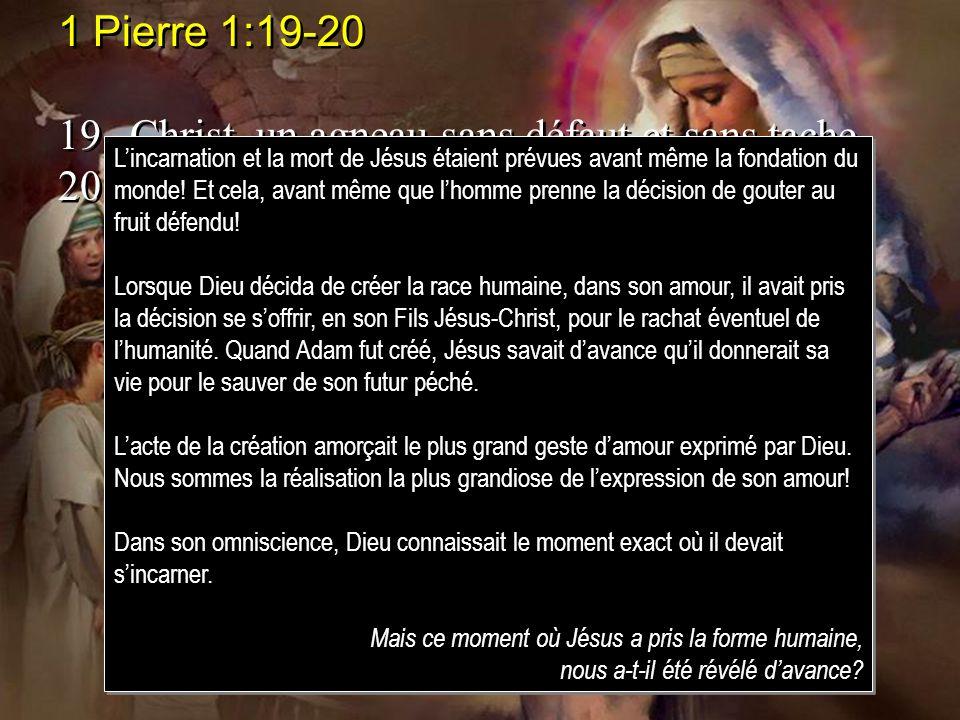1 Pierre 1:19-20 19.Christ, un agneau sans défaut et sans tache, 20.prédestiné avant la fondation du monde, et manifesté à la fin des temps, à cause d