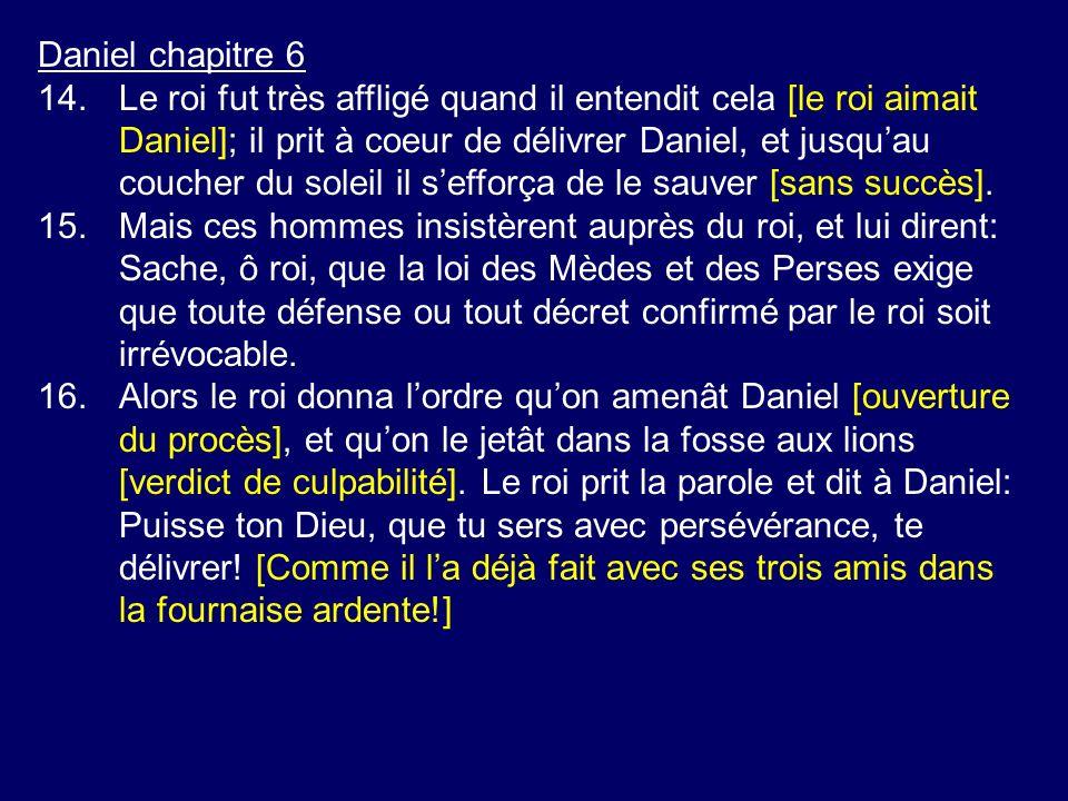 Daniel chapitre 6 14.Le roi fut très affligé quand il entendit cela [le roi aimait Daniel]; il prit à coeur de délivrer Daniel, et jusquau coucher du soleil il sefforça de le sauver [sans succès].