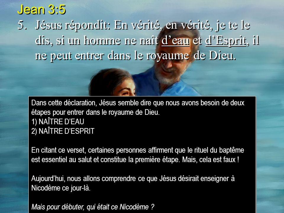 Jean 3:5 5.Jésus répondit: En vérité, en vérité, je te le dis, si un homme ne naît deau et dEsprit, il ne peut entrer dans le royaume de Dieu.
