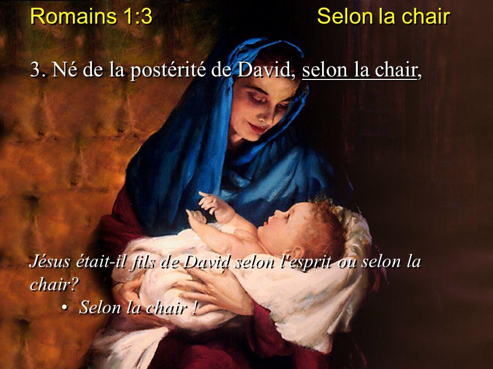Romains 1:3 Selon la chair 3. Né de la postérité de David, selon la chair, Jésus était-il fils de David selon l'esprit ou selon la chair? Selon la cha