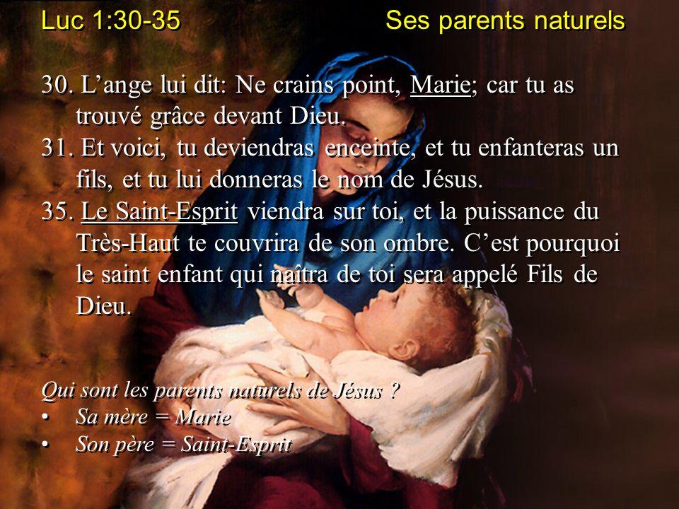 Luc 1:30-35 Ses parents naturels 30. Lange lui dit: Ne crains point, Marie; car tu as trouvé grâce devant Dieu. 31. Et voici, tu deviendras enceinte,
