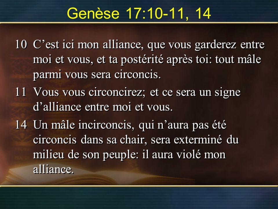 Genèse 17:10-11, 14 10Cest ici mon alliance, que vous garderez entre moi et vous, et ta postérité après toi: tout mâle parmi vous sera circoncis. 11Vo