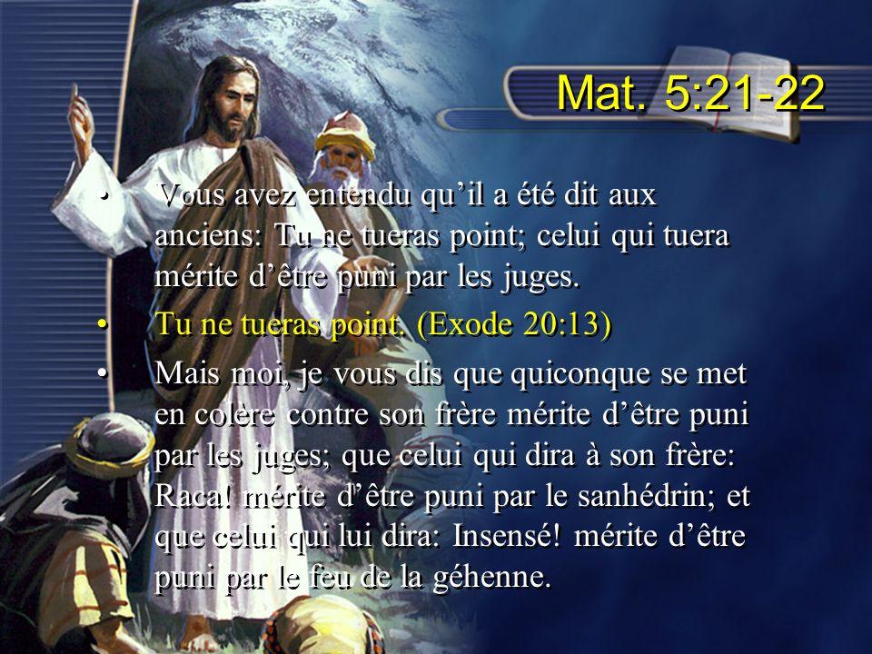 Mat. 5:21-22 Vous avez entendu quil a été dit aux anciens: Tu ne tueras point; celui qui tuera mérite dêtre puni par les juges. Tu ne tueras point. (E