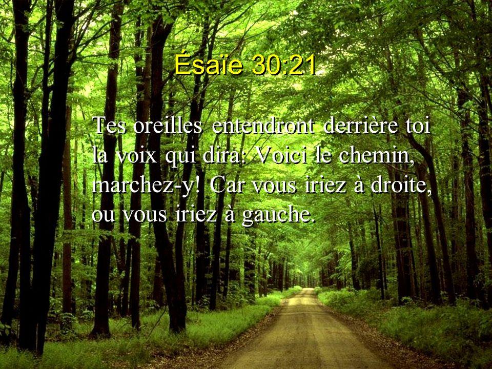 Ésaïe 30:21 Tes oreilles entendront derrière toi la voix qui dira: Voici le chemin, marchez-y! Car vous iriez à droite, ou vous iriez à gauche.