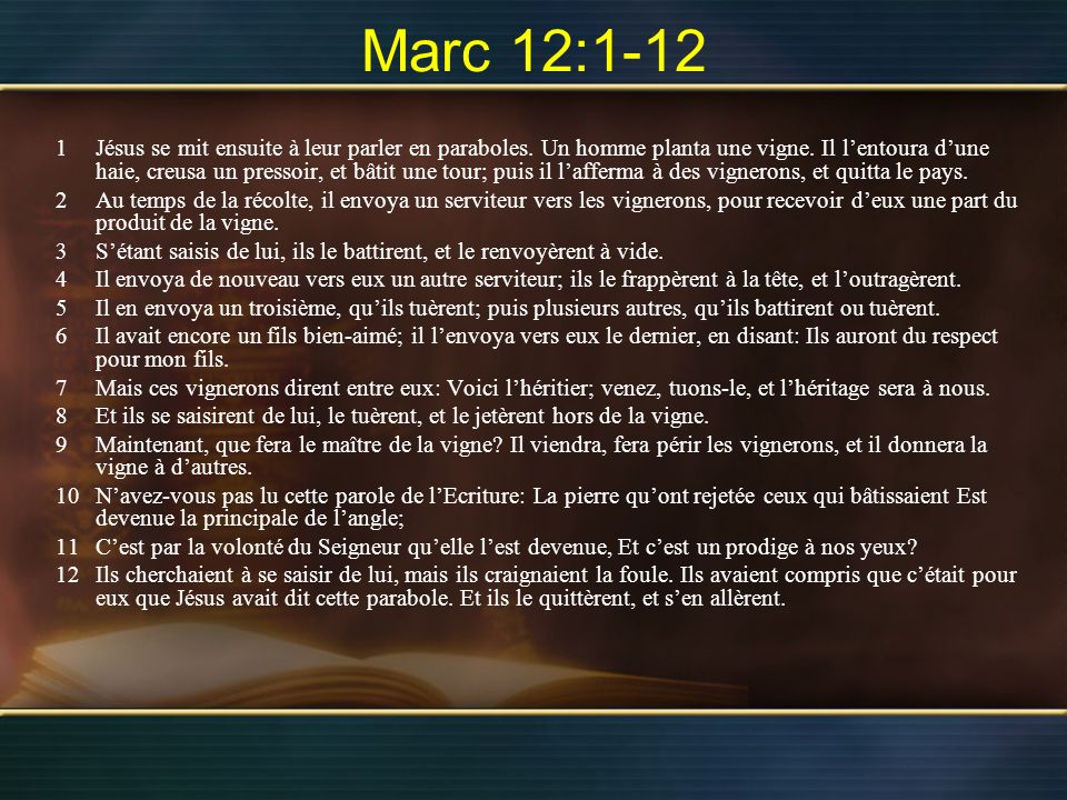 1Jésus se mit ensuite à leur parler en paraboles. Un homme planta une vigne. Il lentoura dune haie, creusa un pressoir, et bâtit une tour; puis il laf