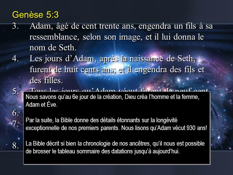 Genèse 5:3 3.Adam, âgé de cent trente ans, engendra un fils à sa ressemblance, selon son image, et il lui donna le nom de Seth. 4.Les jours dAdam, apr