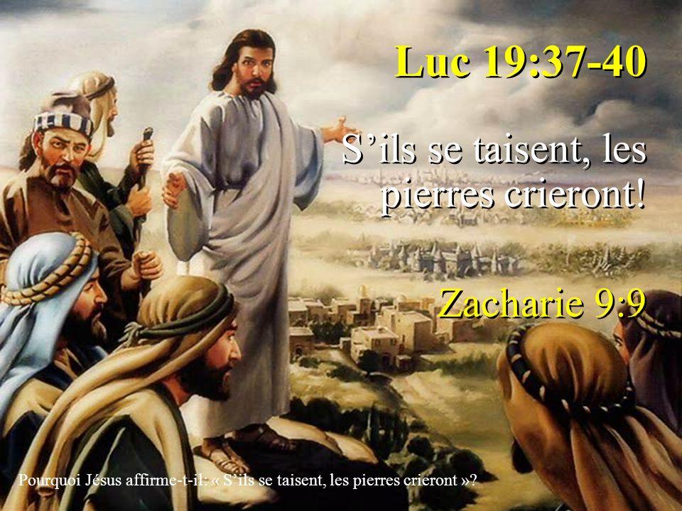 Luc 19:37-40 Sils se taisent, les pierres crieront! Zacharie 9:9 Luc 19:37-40 Sils se taisent, les pierres crieront! Zacharie 9:9 Pourquoi Jésus affir