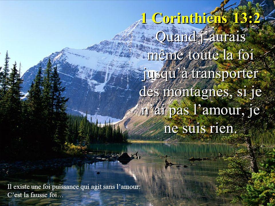 1 Corinthiens 13:2 Quand jaurais même toute la foi jusquà transporter des montagnes, si je nai pas lamour, je ne suis rien. Il existe une foi puissanc