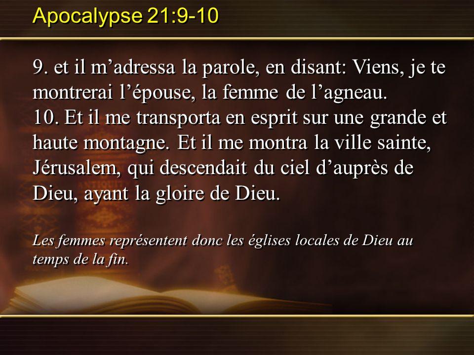 Apocalypse 21:9-10 9. et il madressa la parole, en disant: Viens, je te montrerai lépouse, la femme de lagneau. 10. Et il me transporta en esprit sur