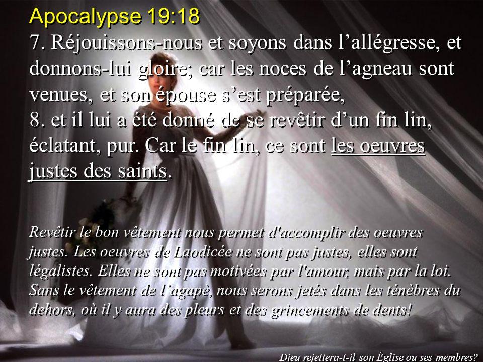 Apocalypse 19:18 7. Réjouissons-nous et soyons dans lallégresse, et donnons-lui gloire; car les noces de lagneau sont venues, et son épouse sest prépa