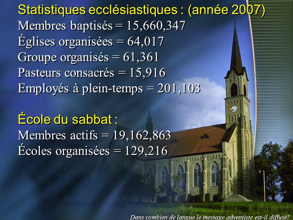 Statistiques ecclésiastiques : (année 2007) Membres baptisés = 15,660,347 Églises organisées = 64,017 Groupe organisés = 61,361 Pasteurs consacrés = 1