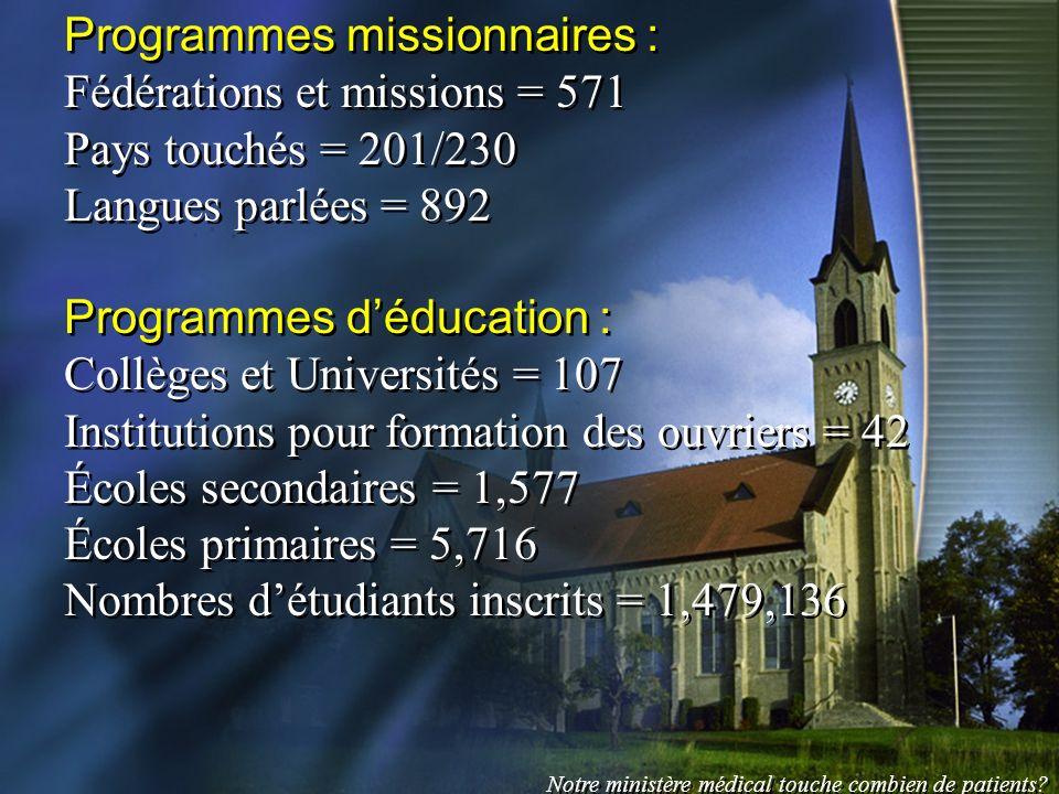 Programmes missionnaires : Fédérations et missions = 571 Pays touchés = 201/230 Langues parlées = 892 Programmes déducation : Collèges et Universités