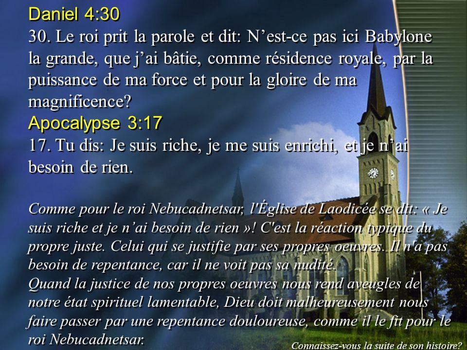 Daniel 4:30 30. Le roi prit la parole et dit: Nest-ce pas ici Babylone la grande, que jai bâtie, comme résidence royale, par la puissance de ma force