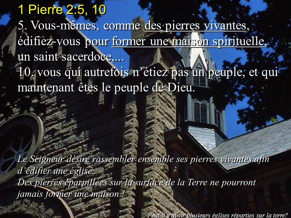 1 Pierre 2:5, 10 5. Vous-mêmes, comme des pierres vivantes, édifiez-vous pour former une maison spirituelle, un saint sacerdoce,... 10. vous qui autre