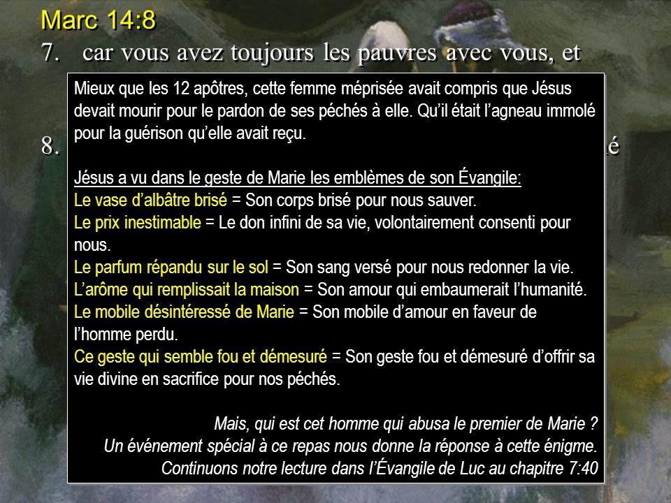 Marc 14:8 7.car vous avez toujours les pauvres avec vous, et vous pouvez leur faire du bien quand vous voulez, mais vous ne mavez pas toujours.