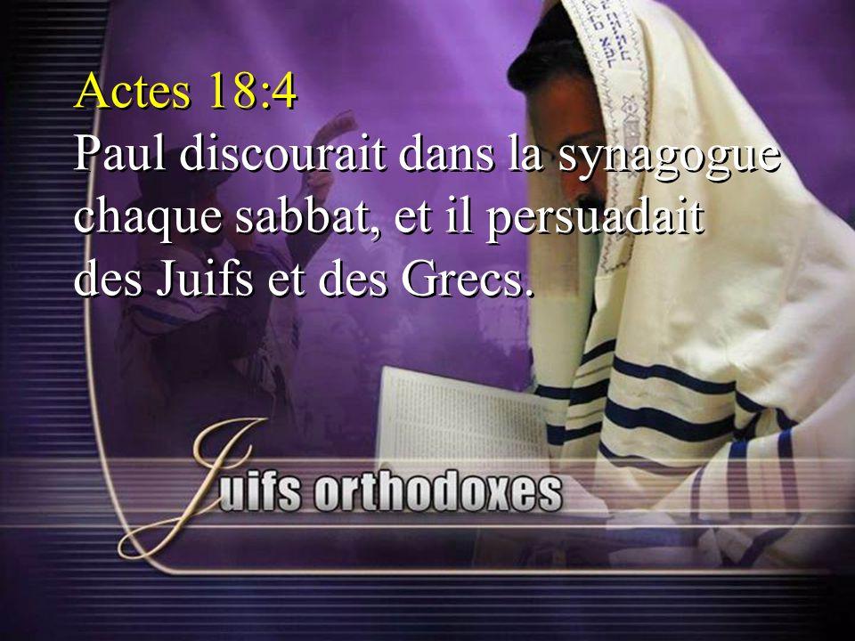 Actes 18:4 Paul discourait dans la synagogue chaque sabbat, et il persuadait des Juifs et des Grecs.