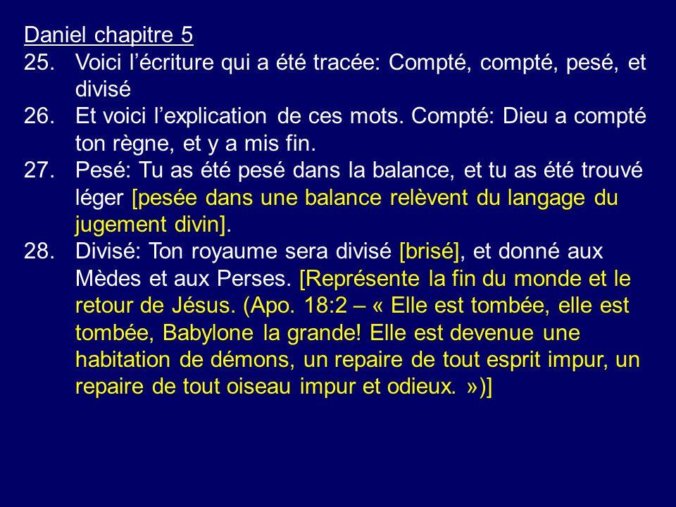 Daniel chapitre 5 25.Voici lécriture qui a été tracée: Compté, compté, pesé, et divisé 26.Et voici lexplication de ces mots. Compté: Dieu a compté ton