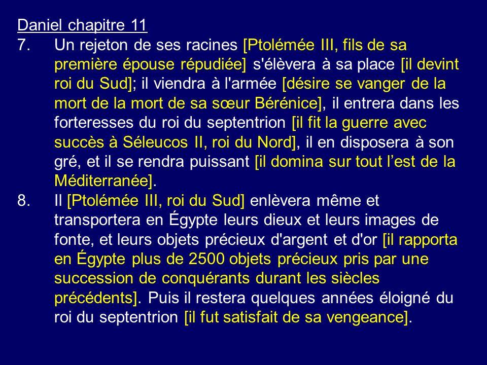 Daniel chapitre 11 7.Un rejeton de ses racines [Ptolémée III, fils de sa première épouse répudiée] s'élèvera à sa place [il devint roi du Sud]; il vie
