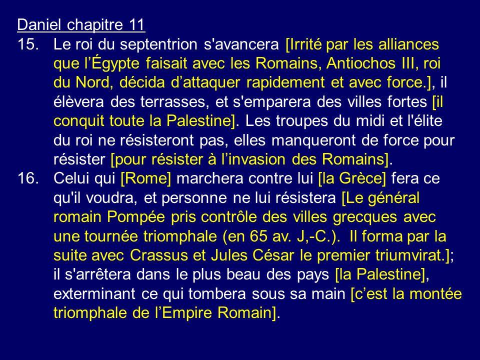Daniel chapitre 11 15.Le roi du septentrion s'avancera [Irrité par les alliances que lÉgypte faisait avec les Romains, Antiochos III, roi du Nord, déc