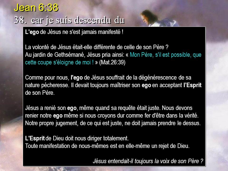 Jean 6:38 38.car je suis descendu du ciel pour faire, non ma volonté, mais la volonté de celui qui ma envoyé. Jean 6:38 38.car je suis descendu du cie