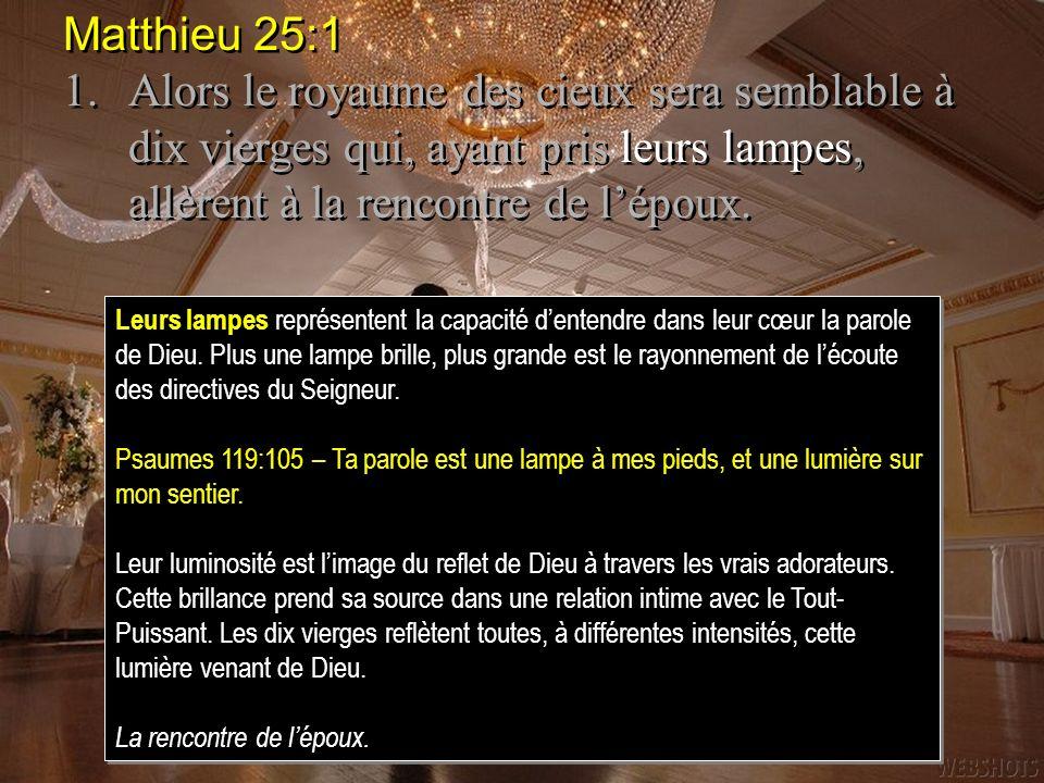 Matthieu 25:1 1.Alors le royaume des cieux sera semblable à dix vierges qui, ayant pris leurs lampes, allèrent à la rencontre de lépoux.