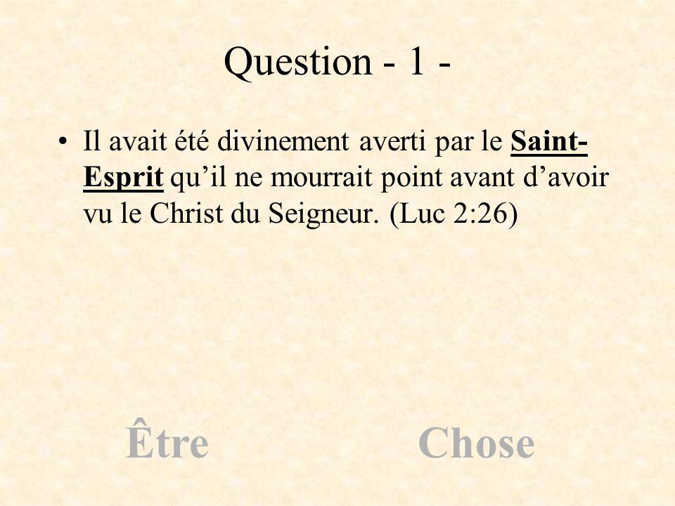 Question - 1 - Il avait été divinement averti par le Saint- Esprit quil ne mourrait point avant davoir vu le Christ du Seigneur. (Luc 2:26) ÊtreChose